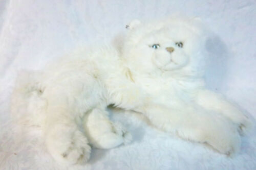 "White Cat Lays on Bed 15"" + 12"" Tail PJ Bag Plush Soft Toy Stuffed Animal"