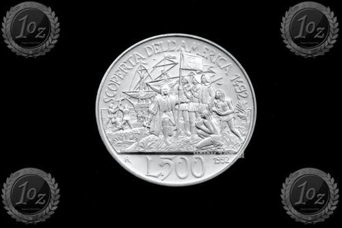 ITALY 500 LIRE 1992 (AMERICA DISCOVERY) SILVER Commemorative coin (KM# 150) UNC
