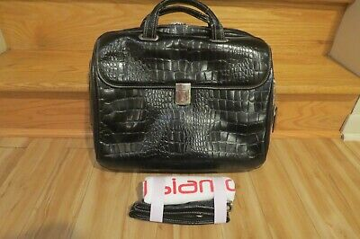 Siamod Monterosso IGNOTO 17 Laptop Briefcase Italian Croco Leather Black
