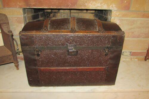 Antique Victorian Embossed Metal Wood Camelback Humpback Steamer Trunk #1074
