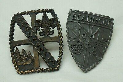VINTAGE BOY SCOUTS SLIDE FOR NECKERCHIEF SCARF LOT 2 BEAUMONT CAMP 1968 1969 BSA