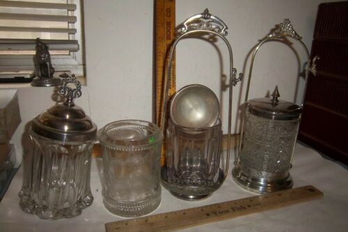 Lot Of 4 Victorian Clear Glass Pickle Castor Inserts & Two Frames James W. Tuft