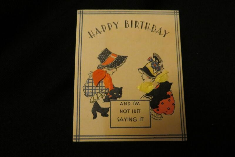 Vintage ART DECO Victorian Lady & KITTEN Birthday Card c. 1920s by: norcross