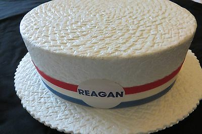 Vintage Ronald Reagan Election Boater Hat Styrofoam Italian Skimmer Faux Straw ()