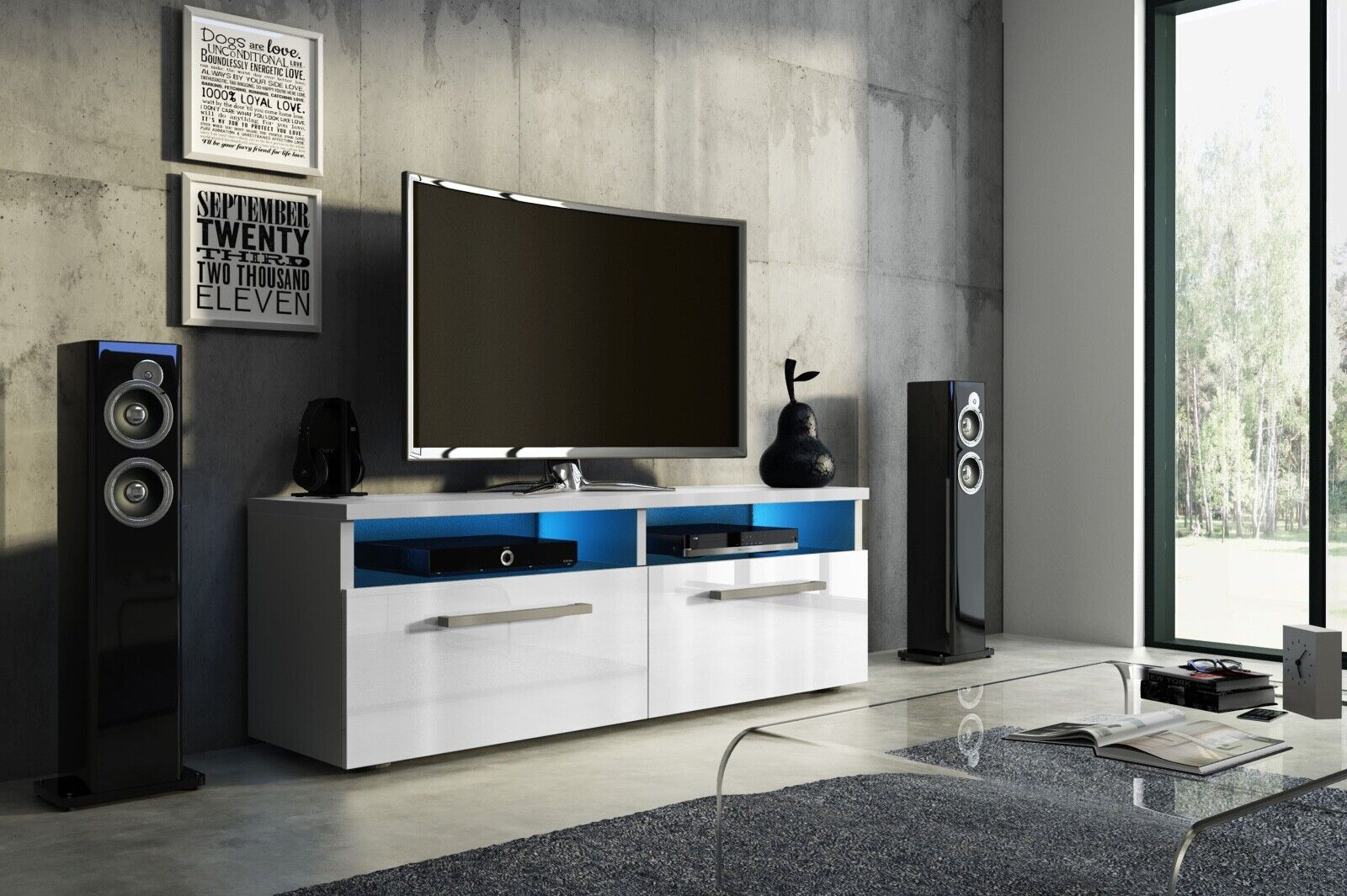 Sideboard Lowboard TV Fernsehschrank BONN 100 cm Kommode inkl LED Highboard NEU
