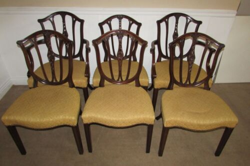 ANTIQUE CARVED MAHOGANY DINING CHAIRS, SET OF SIX