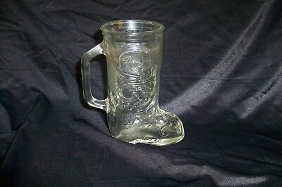 Vintage Clear Drinking Glass Cowboy Boot With Handle (Cowboy Boot Drinking Glasses)