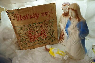 "VINTAGE CHRISTMAS BLOW MOLD NATIVITY SET JESUS MARY JOSEPH EMPIRE BOX 1950s 17"""