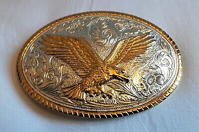 Fine Gold & Silver Plate Belt Buckle - Heritage Three Amigos Style Eagle Fine Gold Plate