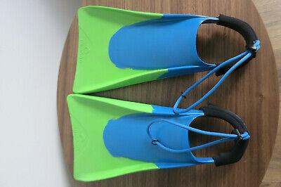 Triboard Bodyboard Flosse mit Leash grün/blau Body Board Schwimmflossen 40-41