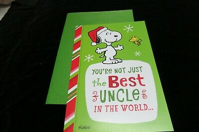 Christmas Card Hallmark Snoopy Peanuts Uncle NEW  Best Uncle In the (Best Peanuts In The World)