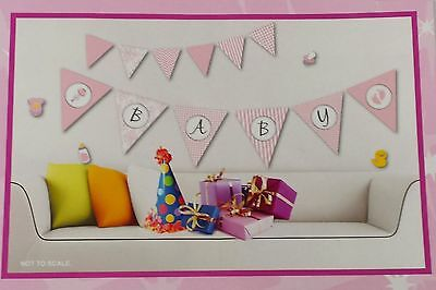 Cute Pink Baby Decorative Wall Bunting Stickers Nursey Bedroom Decoration - New