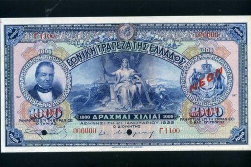 Greece 1000 drachma drachmai drx 1922 P69s - aUnc