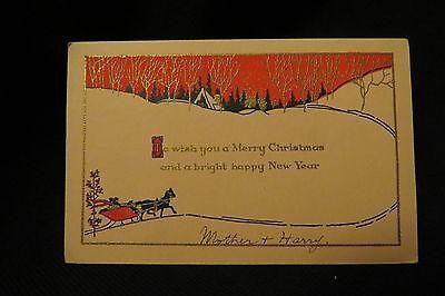 Vintage ART DECO HORSE SLEIGH Christmas Card c. 1930s