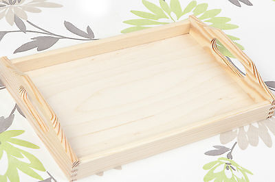 SMALL UNPAINTED WOODEN SERVING TRAY TEA TRAY 5 x 20 x 30 cm/ ART CRAFT DECOUPAGE