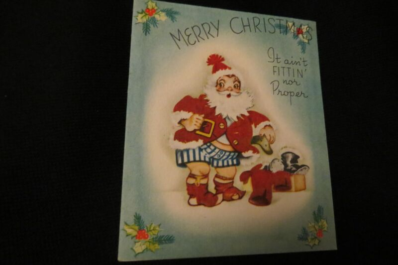 Vintage ART DECO Santa Christmas Card c. 1940s by: storybook lane