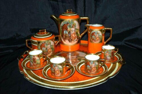 RARE Vintage Stunning Royal Vienna Style Porcelain Coffee Set w/Tray