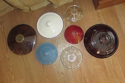 Cookie Jars Candy Nut Mint Dish Pots Pans Glass Ceramic Replacement Lids #5001 Glass Pot Lids