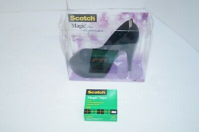 Scotch Magic Tape Black High Heel Shoe Stiletto Tape Dispenser With Tape New