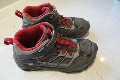 Merrell Moab FST Mid A/C Kids Size 3 Waterproof Hiking Shoes Boots Gray/Red Mid Grey Kids Shoes