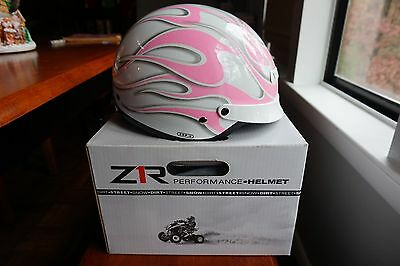 New Z1R Nomad Half Helmet Pink Ghost Flames X-Large XL 0103-0230 Pink Flames Half Helmet