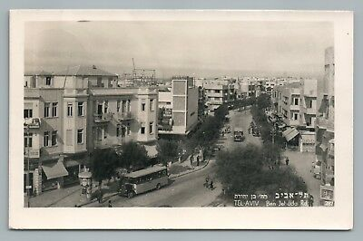 Ben Yehuda Street TEL AVIV Rare RPPC Photo—Bus—Russian Sign—NYC Stamp 1940s
