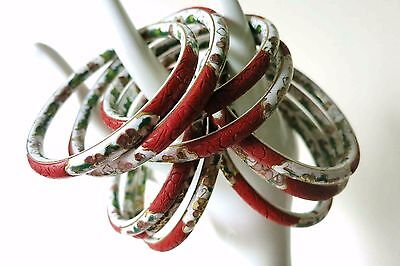 11pc RARE IN OUT VINTAGE CHINESE CINNABAR LACQUER CLOISONNE BANGLE BRACELETS 7.5