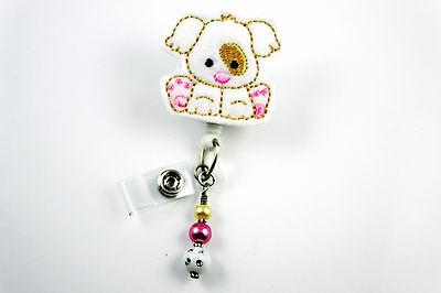 (Adorable Dog - Felt Retractable ID Name Nurse Badge Holder Reel RN Lanyard Clip)
