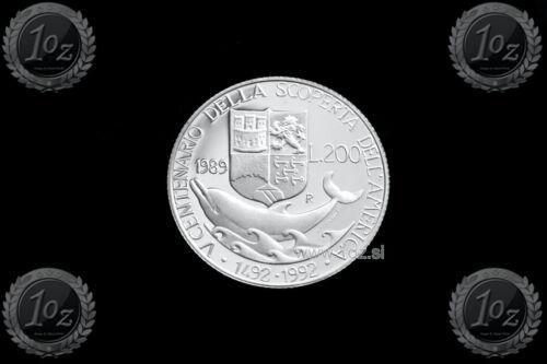 ITALY 200 LIRE 1989 (COLUMBUS DEPARTURE) SILVER Commemorative coin (KM# 138) UNC