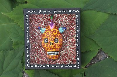 Day of the Dead, Leopard Skull Mask Shadow Box, Mexican Folk Art, Hand Made!