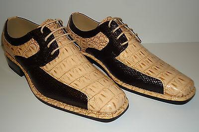Dark Tan Combo - Viotti S 1213-008 Mens Dark Brown & Khaki Tan Cool Color Combo Exotic Look Shoes