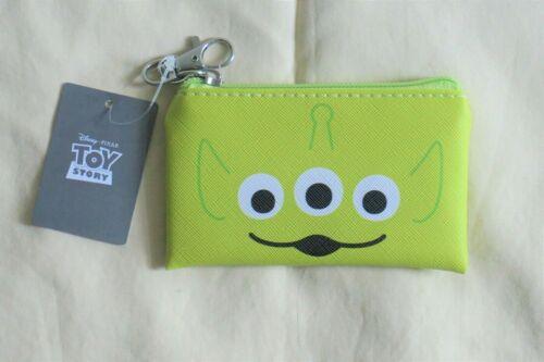 """New Japan Disney Toy Story Green Alien Mini Zipper Pouch Wallet Keychain 3""""x5"""""""