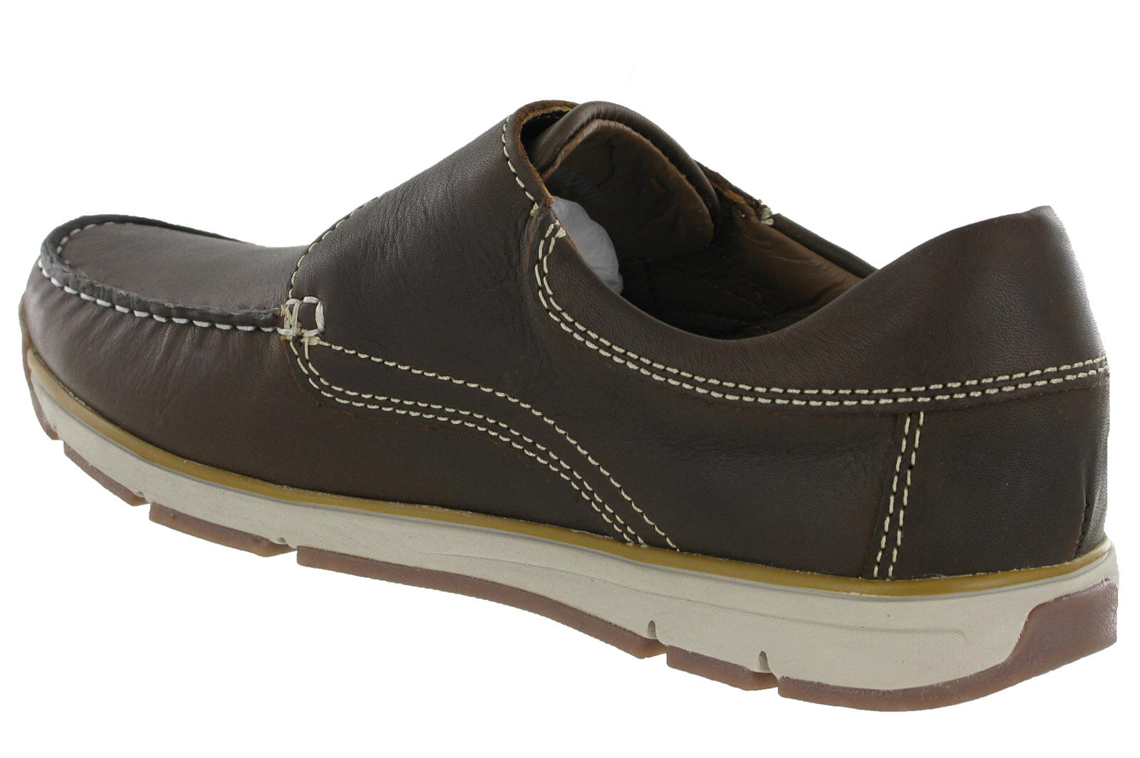 4064675b04908 Roamers Moccasin Boat Shoes Touch Fastening Leather Lined Lightweight Mens