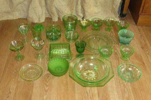 Green Depression Vaseline Uranium Glass Butter Bowl Plate Ice Cream Cup #1152
