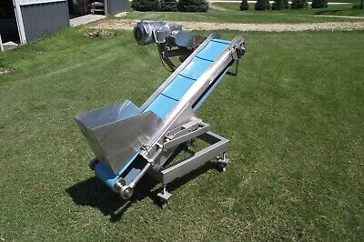 10 X 61 Stainless Steel Sanitary Inclined Cleated Conveyor Belt