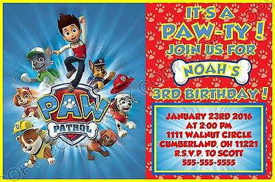 Paw Patrol Birthday Invitations 8 w/envelopes address labels seals personalized - Paw Patrol Birthday Invites
