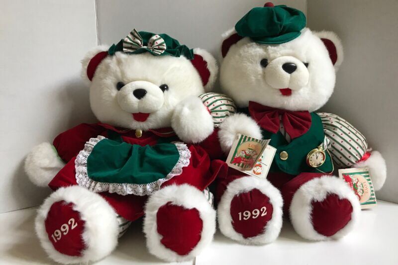 1992 The Christmas Bear Family Momma AND Papa Made For Kmart **LOT OF 2 BEARS**