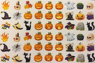 Nail Art Water Decals Halloween Jack-o-latern Scary Fire Skull Witch Cauldren - Scary Halloween Nails