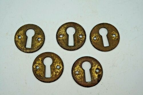 5  Antique Lock Escutcheon Brass Key Hole Cover Furniture Drawer Hardware Solid