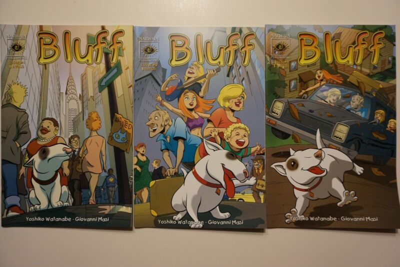 ULTRA RARE ~ BULL TERRIER ~ DOG ~ Comic Book Set of 3 ~ BLUFF # 1 2 3 ~2006