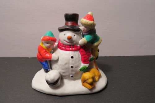 VTG Lemax Christmas Village Ceramic Children Building Snowman Golden Dog 1984