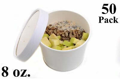 50 8 Oz. Round White Paper Disposable Deli Food Soup Containers With Lids