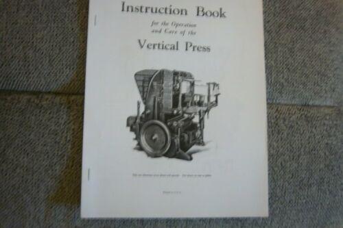 MIEHLE LETTERPRESS INSTRUCTION BOOK