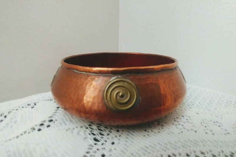 Vintage Middle Eastern Small Hammered Copper Bowl / Ashtray Brass Designs