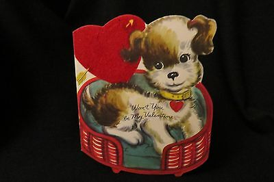 Vintage TERRIER Dog in Dog Bed Valentine Card c. 1940s by: whit