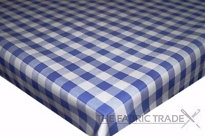 Navy Blue Gingham Checked PVC Tablecloth Vinyl Oilcloth Kitchen Dining Table ()