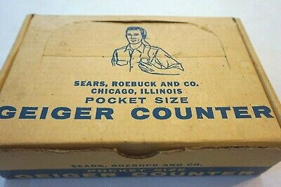 Vintage Pocket Size Geiger Counter Sold By Sears Roebuck With Box Model 6154