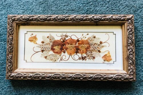 #9 Vintage Hand Made Dried Wildflowers Leaves Framed Picture Hanging Wall Art