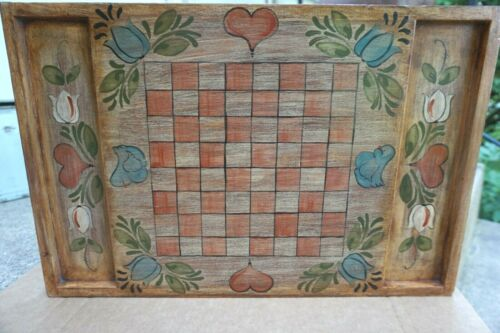 Vintage Tole Painted Wooden Checkers Chess Board Wall Hanging