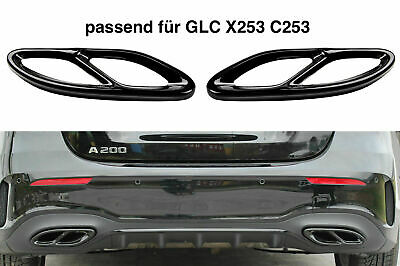 Set Schwarz Chrom Edelstahl Auspuffblende Abdeckung für Mercedes GLC X253 C253